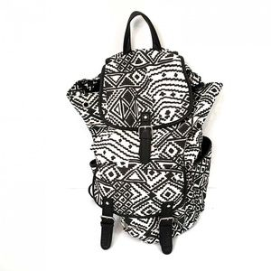 Aeropostale Backpack Bag Black White 16″ x 14″